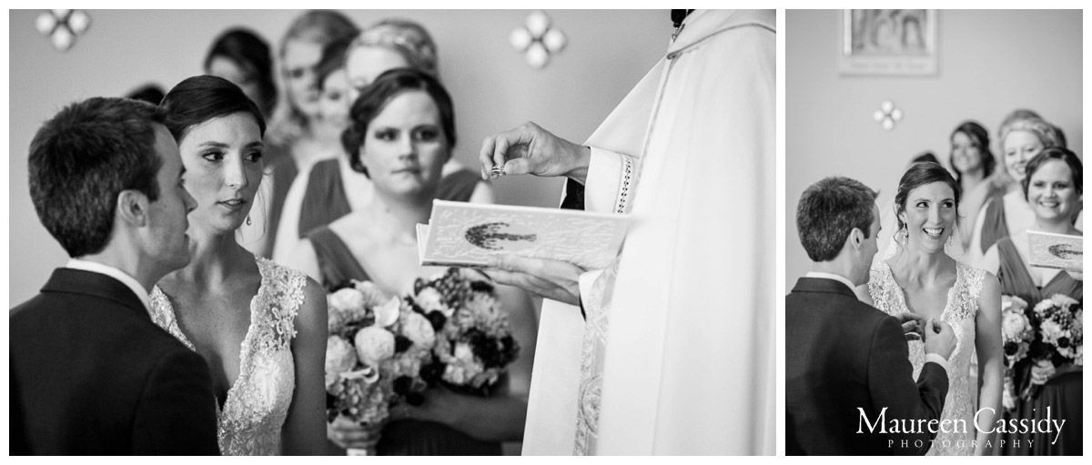 bride getting the ring at the wedding photo