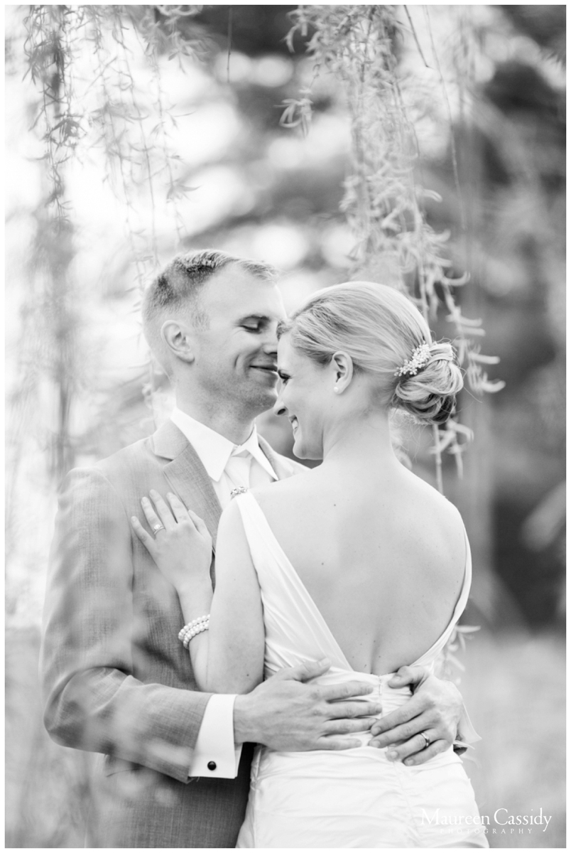 natural light filled outdoor wedding couple photo