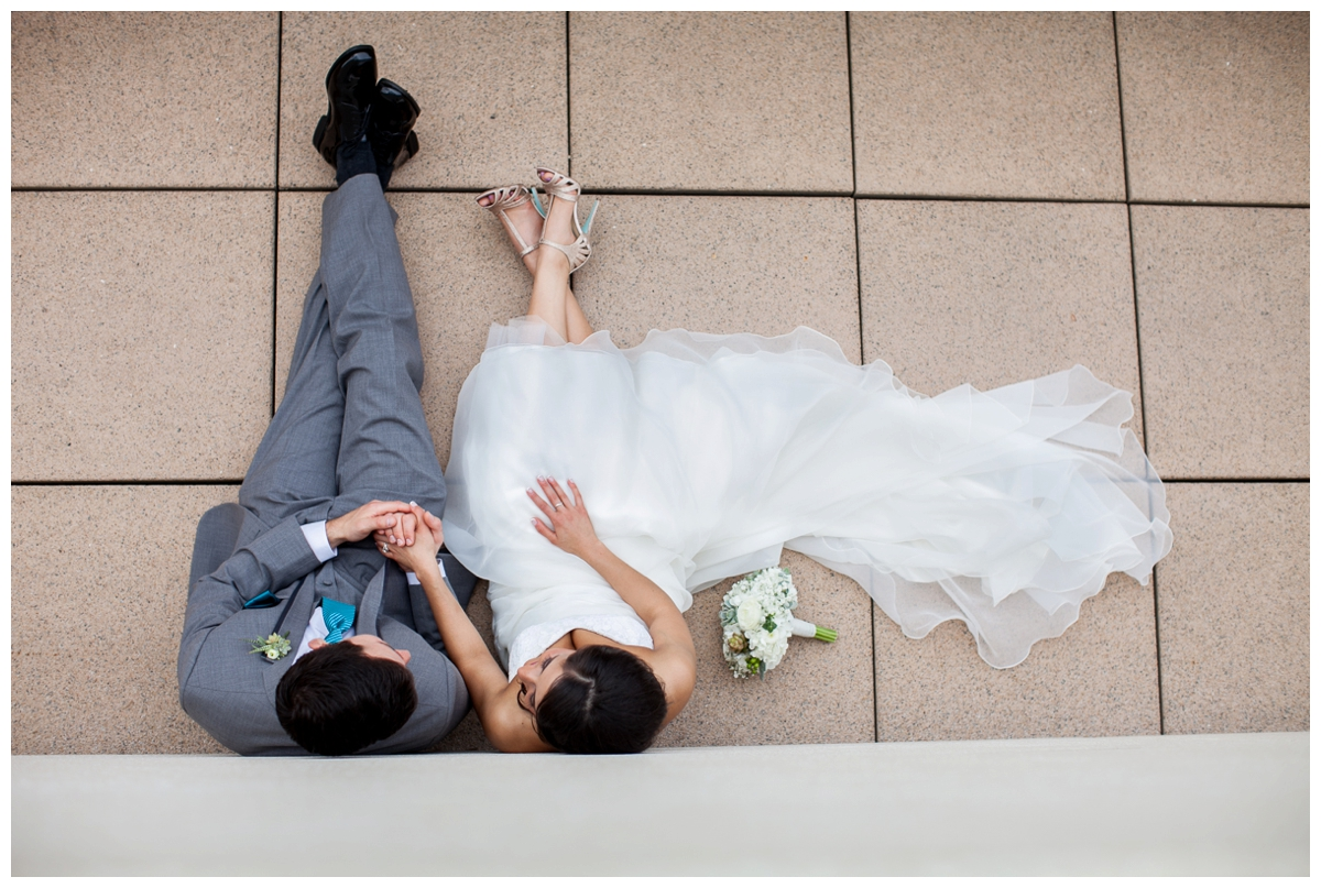bride and groom from above madison wi picture