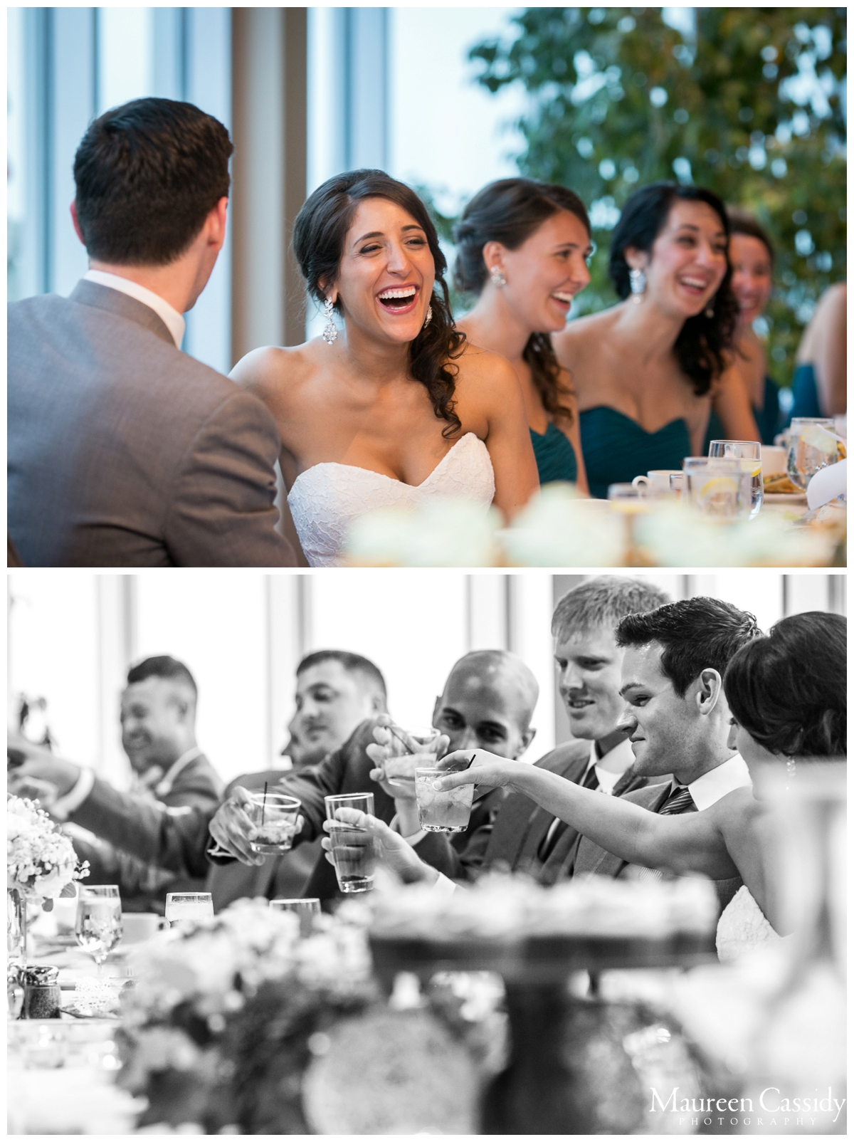 groomsmen and bridal party reception fun