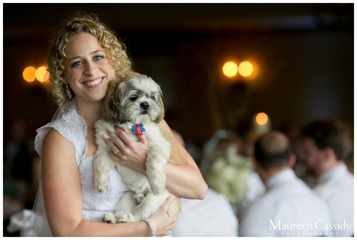happy bride with dog natural photo