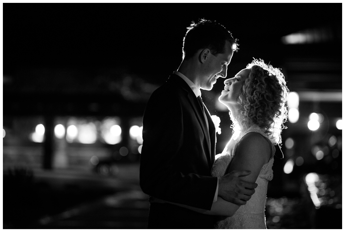 black and white contrast night bride and groom