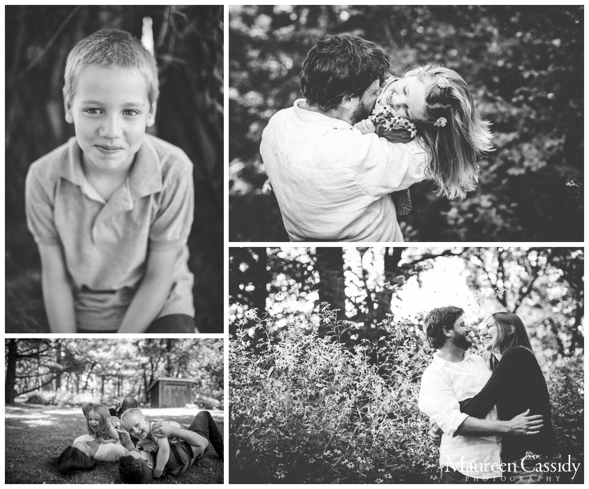 family outside natural film style photography