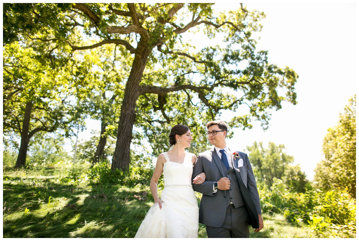 candid of bride and groom at Olin park
