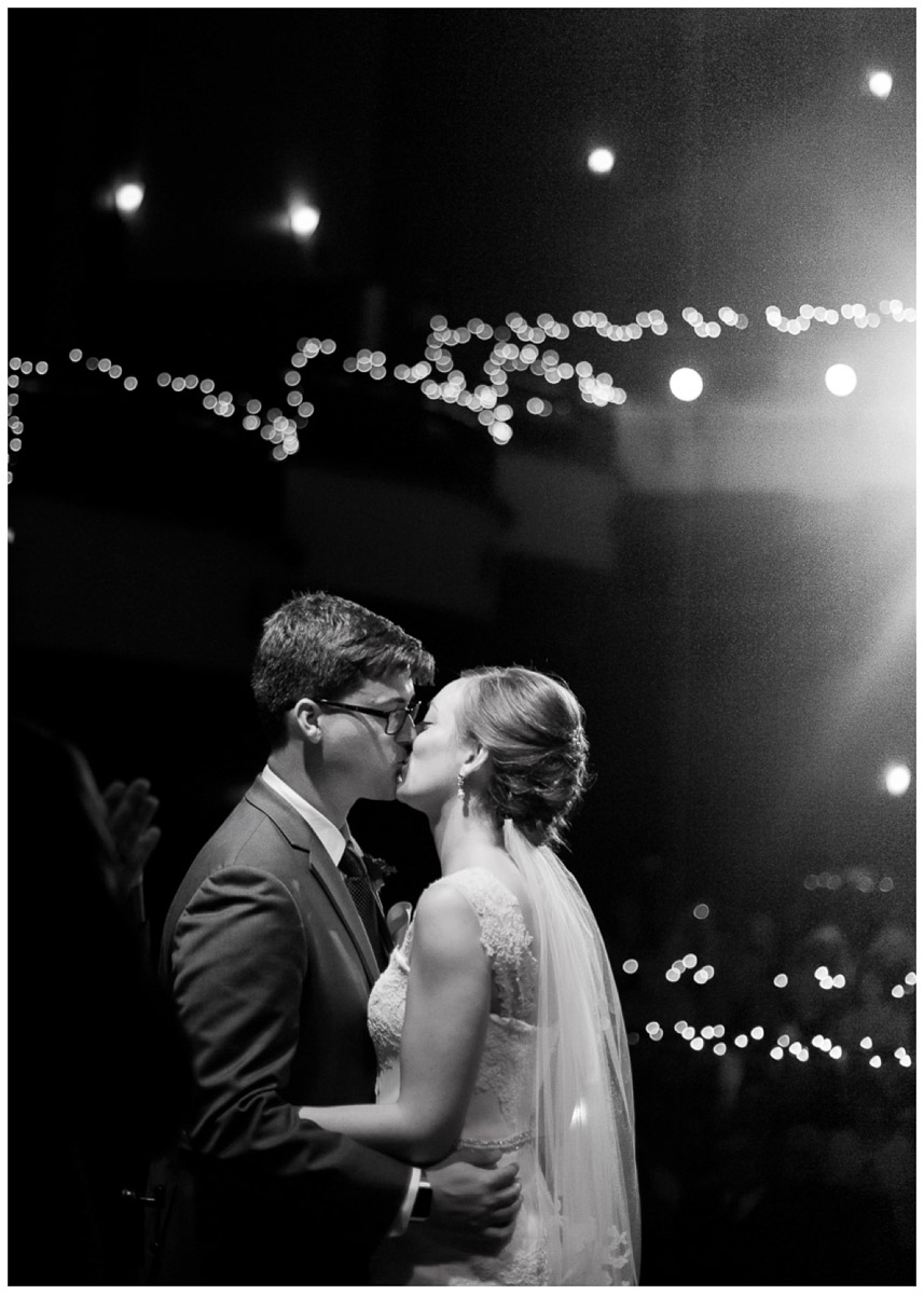 first kiss at majestic theater wedding