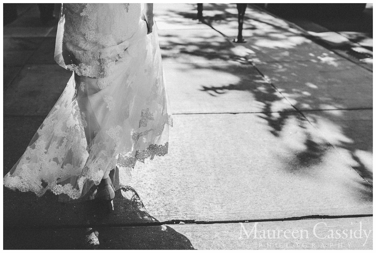 candid of bride downtown in Madison Wisoconsin