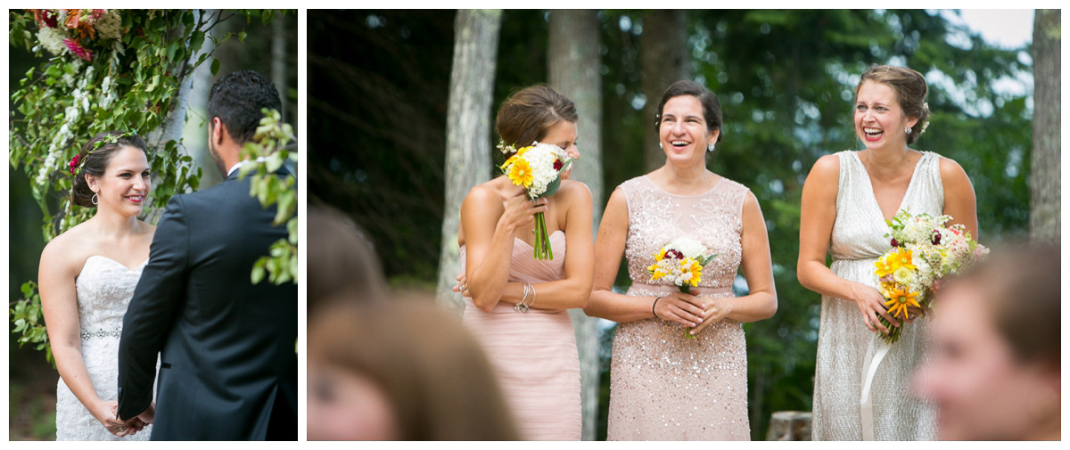 bridesmaids candids at ceremony