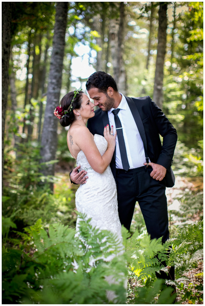 first look in woods at backyard wedding