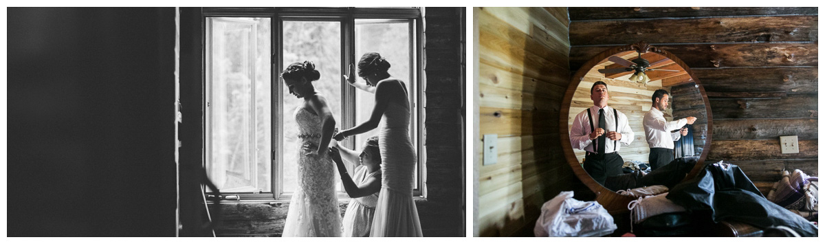 rustic wedding in backyard bride getting ready in cabin