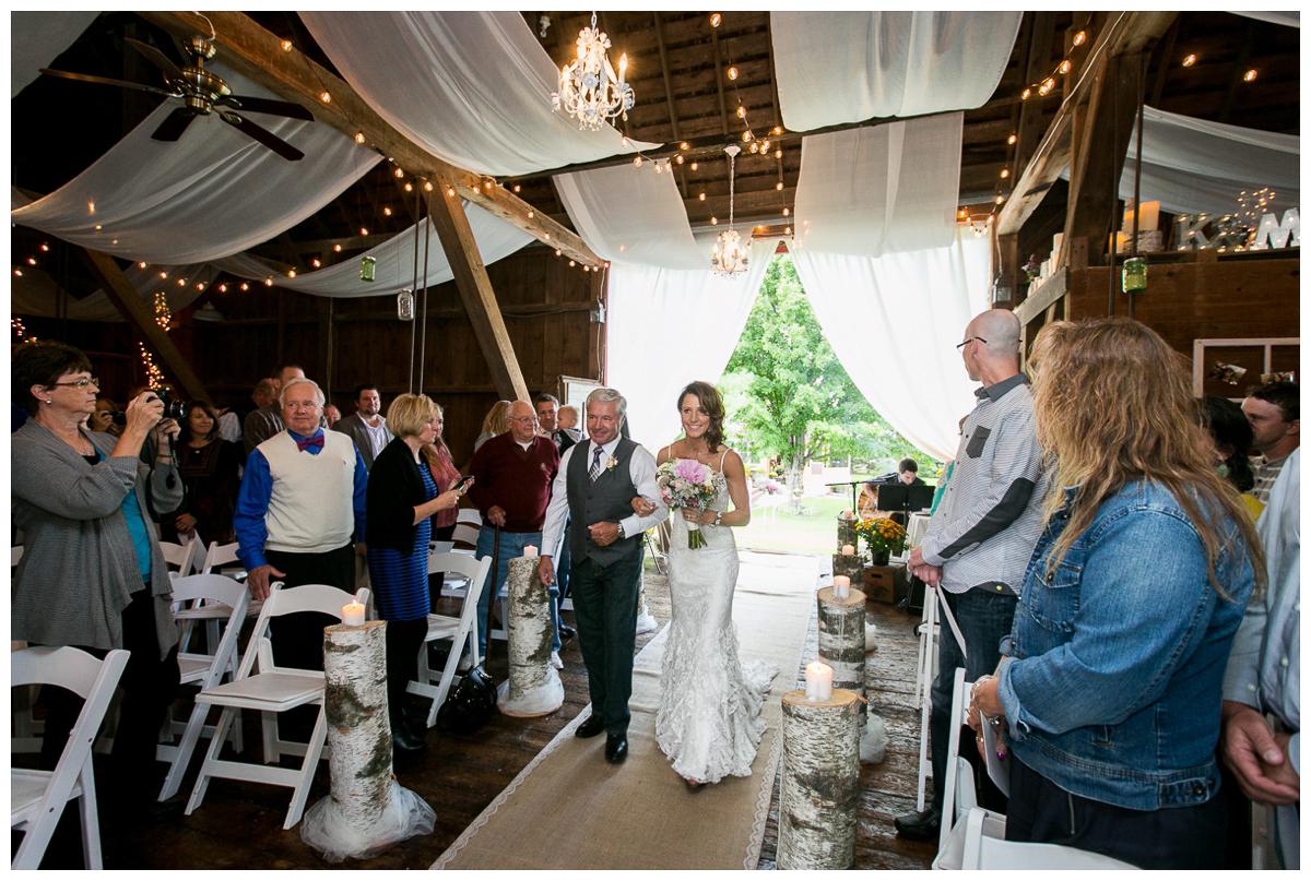 backyard wedding in a barn