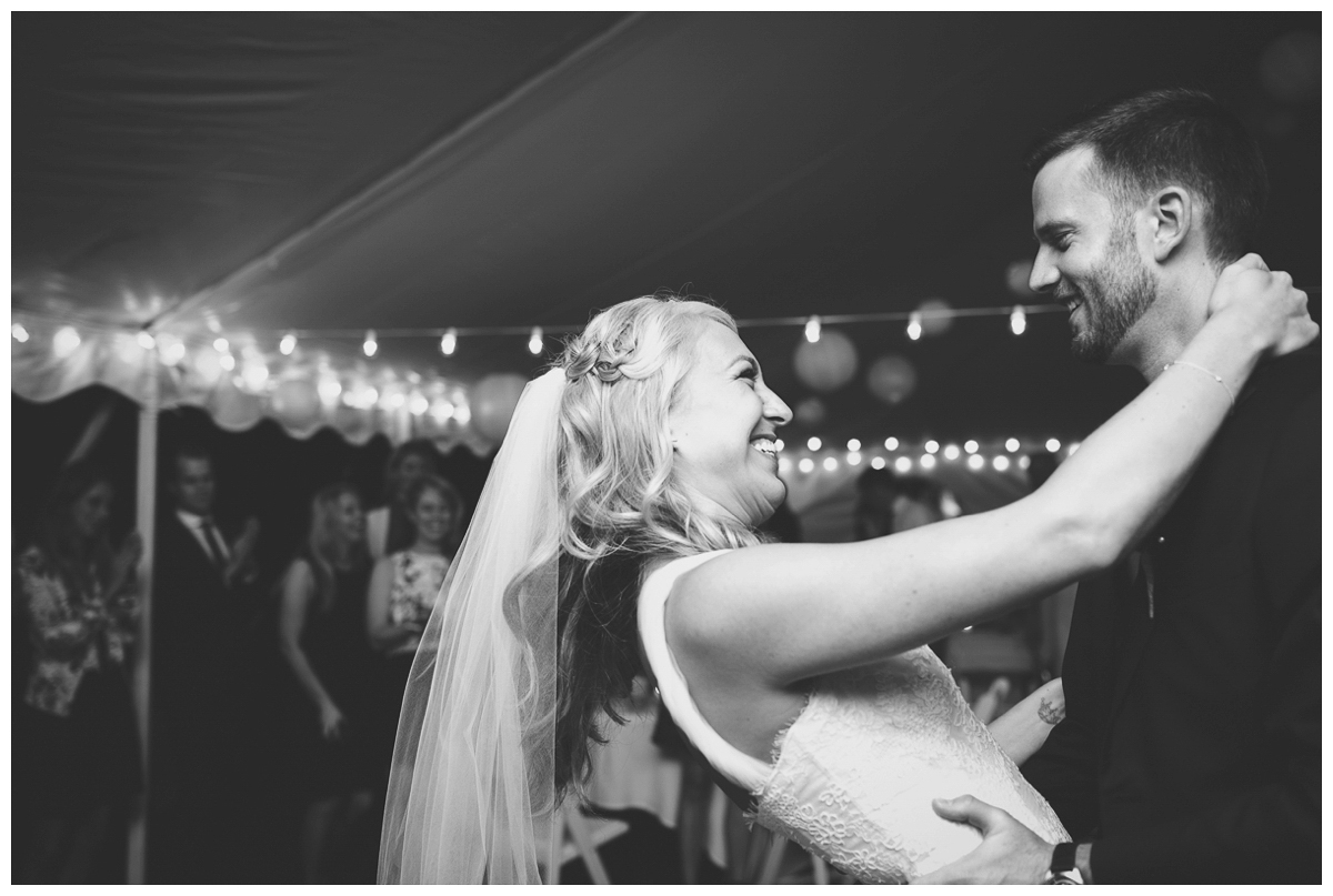newlyweds first dance black and white happy picture